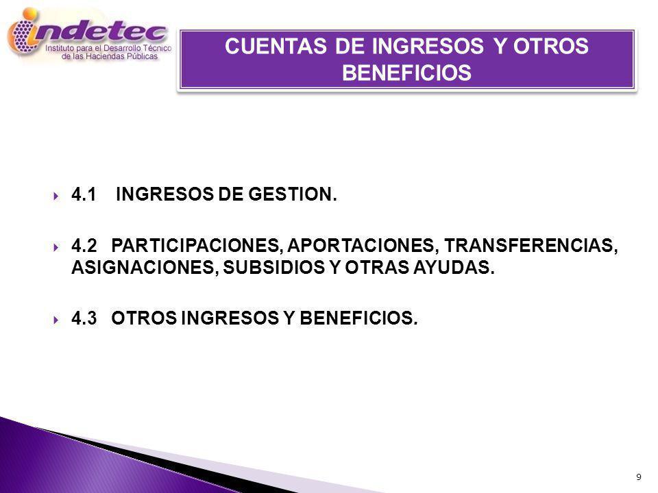 4.1 INGRESOS DE GESTION. 4.2PARTICIPACIONES, APORTACIONES, TRANSFERENCIAS, ASIGNACIONES, SUBSIDIOS Y OTRAS AYUDAS. 4.3OTROS INGRESOS Y BENEFICIOS. 9 C