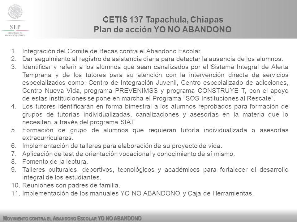 M OVIMIENTO CONTRA EL A BANDONO E SCOLAR YO NO ABANDONO CETIS 137 Tapachula, Chiapas Plan de acción YO NO ABANDONO 1.Integración del Comité de Becas c