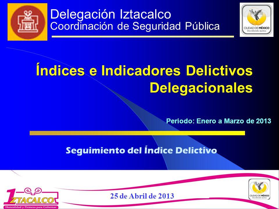 Delegación Iztacalco Coordinación de Seguridad Pública Seguimiento del Índice Delictivo Índices e Indicadores Delictivos Delegacionales Periodo: Enero