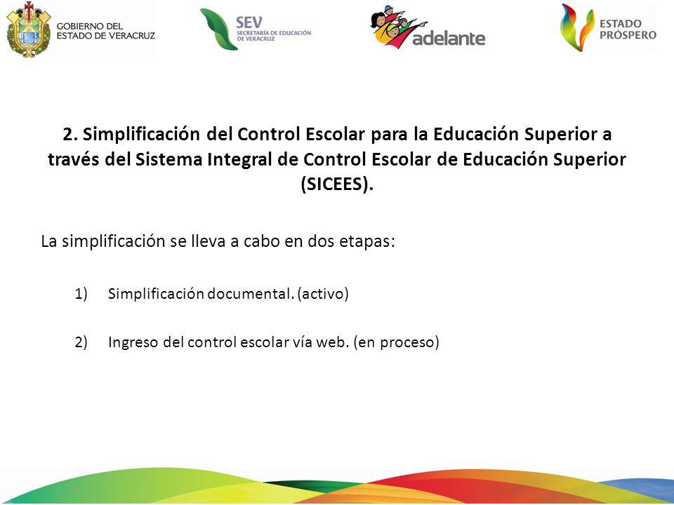 2. Simplificación del Control Escolar para la Educación Superior a través del Sistema Integral de Control Escolar de Educación Superior (SICEES). La s