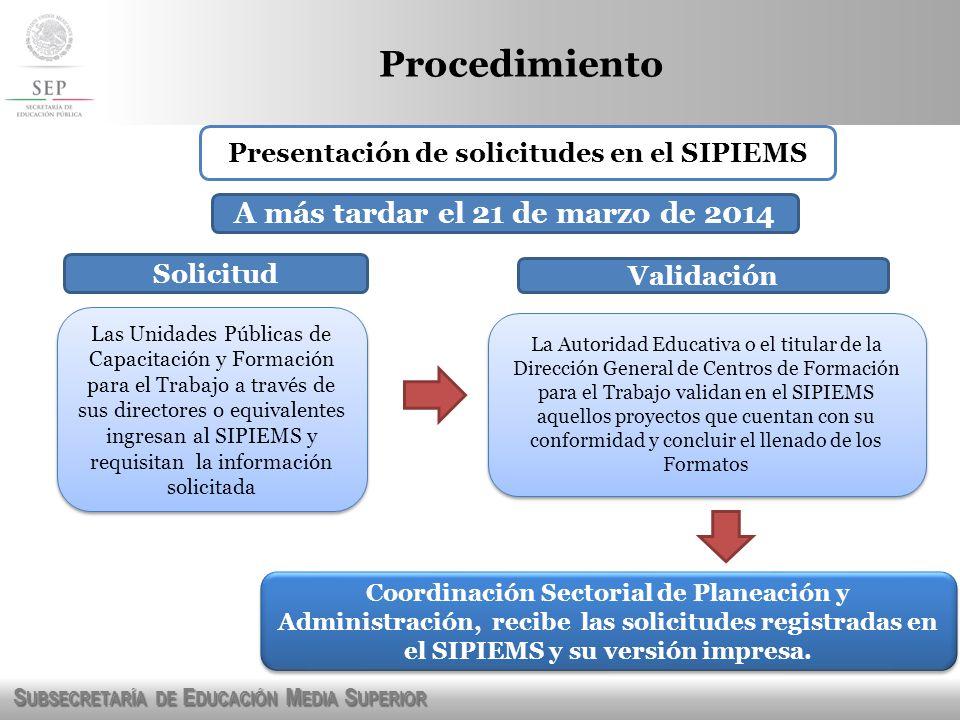 S UBSECRETARÍA DE E DUCACIÓN M EDIA S UPERIOR Procedimiento Presentación de solicitudes en el SIPIEMS Las Unidades Públicas de Capacitación y Formació