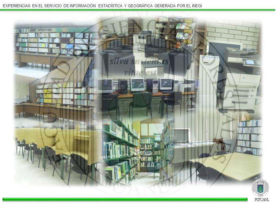 EXPERIENCIAS EN EL SERVICIO DE INFORMACIÓN ESTADÍSTICA Y GEOGRÁFICA GENERADA POR EL INEGI ESPACIO INEGI Dentro de la construcción de la Biblioteca, contamos con 25 m 2 para el espacio de INEGI.