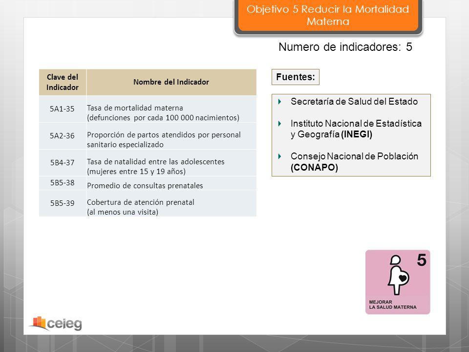 Secretaría de Salud del Estado Instituto Nacional de Estadística y Geografía (INEGI) Consejo Nacional de Población (CONAPO) Fuentes: Clave del Indicad