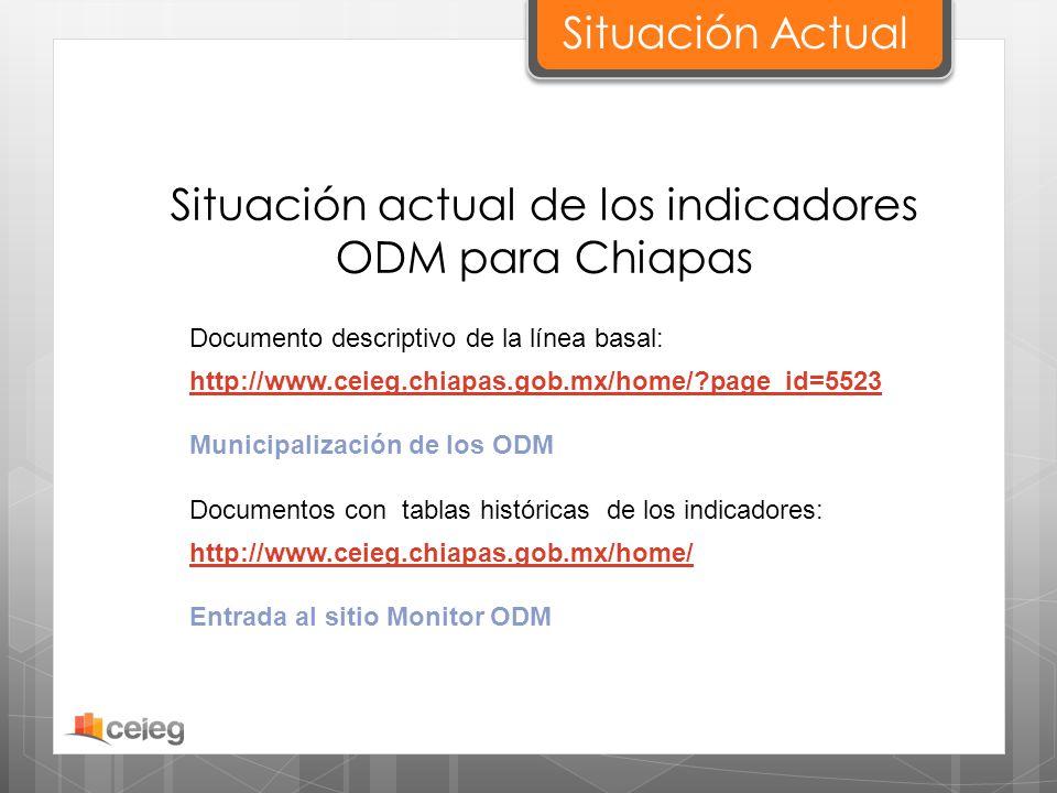Situación Actual Situación actual de los indicadores ODM para Chiapas http://www.ceieg.chiapas.gob.mx/home/?page_id=5523 Municipalización de los ODM D