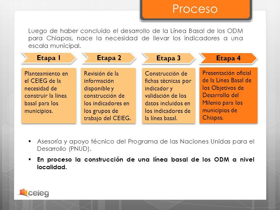 Proceso Etapa 1 Etapa 2 Etapa 3 Etapa 4 Luego de haber concluido el desarrollo de la Línea Basal de los ODM para Chiapas, nace la necesidad de llevar