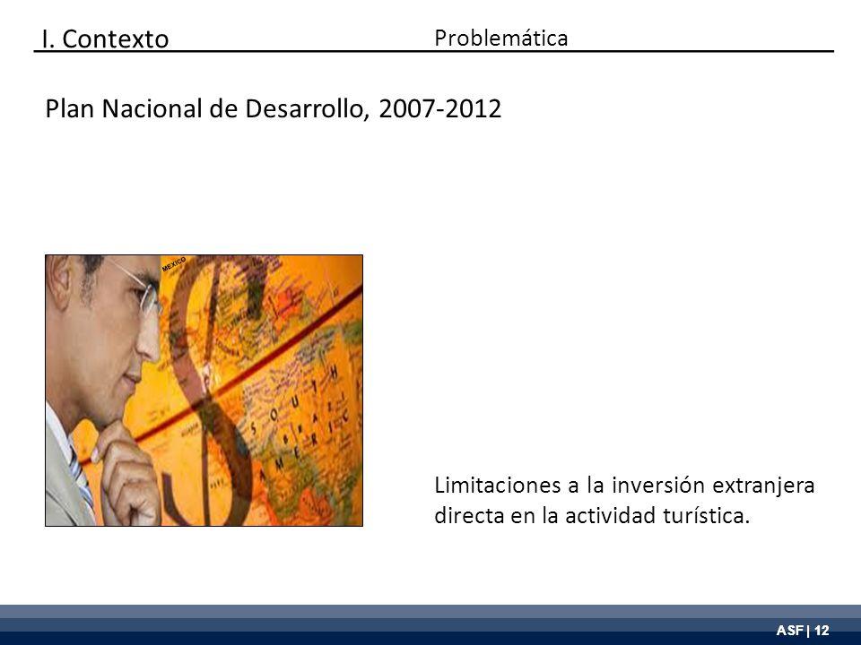 ASF | 12 Plan Nacional de Desarrollo, 2007-2012 Limitaciones a la inversión extranjera directa en la actividad turística. Problemática I. Contexto MEX