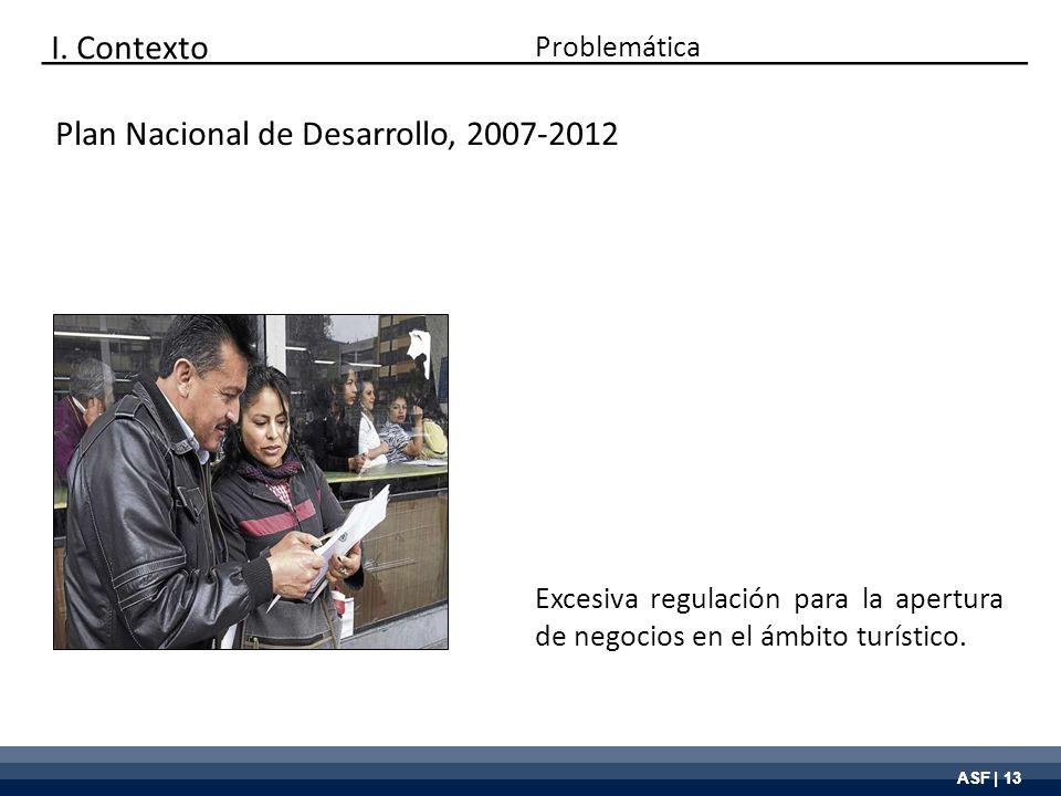 ASF | 13 Plan Nacional de Desarrollo, 2007-2012 Excesiva regulación para la apertura de negocios en el ámbito turístico. Problemática I. Contexto