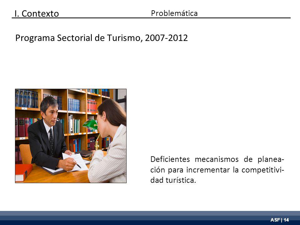 ASF | 14 Deficientes mecanismos de planea- ción para incrementar la competitivi- dad turística. Programa Sectorial de Turismo, 2007-2012 Problemática