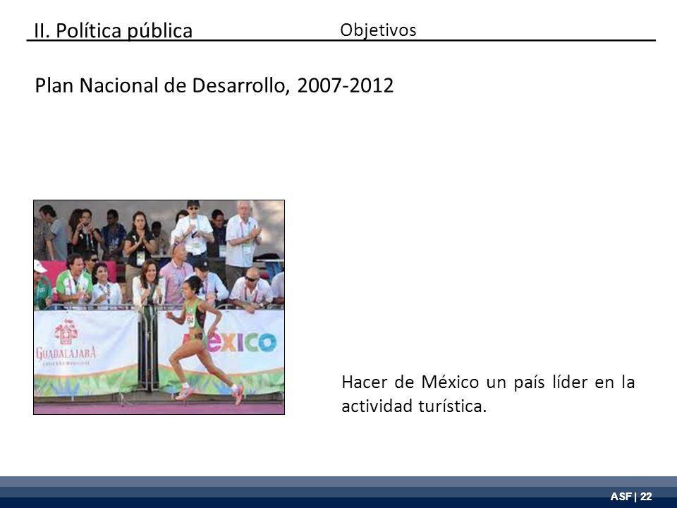 ASF | 22 Plan Nacional de Desarrollo, 2007-2012 Hacer de México un país líder en la actividad turística. Objetivos II. Política pública