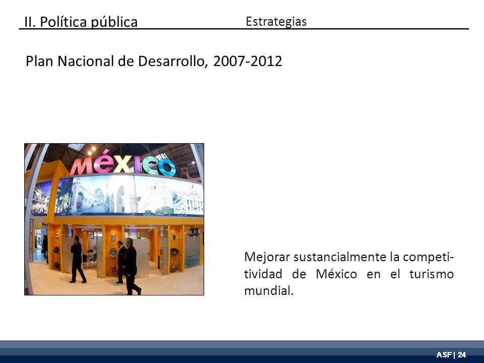 ASF | 24 Plan Nacional de Desarrollo, 2007-2012 Mejorar sustancialmente la competi- tividad de México en el turismo mundial. Estrategias II. Política
