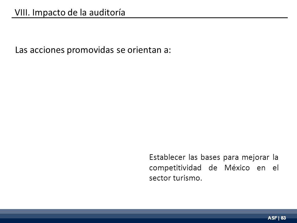 ASF | 83 VIII. Impacto de la auditoría Establecer las bases para mejorar la competitividad de México en el sector turismo. Las acciones promovidas se