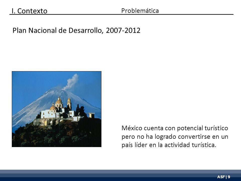 ASF | 9 Plan Nacional de Desarrollo, 2007-2012 México cuenta con potencial turístico pero no ha logrado convertirse en un país líder en la actividad t