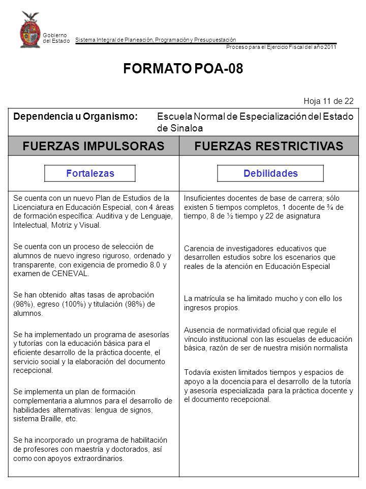 Sistema Integral de Planeación, Programación y Presupuestación Proceso para el Ejercicio Fiscal del año 2011 Gobierno del Estado FORMATO POA-08 Hoja 11 de 22 Dependencia u Organismo:Escuela Normal de Especialización del Estado de Sinaloa FUERZAS IMPULSORASFUERZAS RESTRICTIVAS FortalezasDebilidades Se cuenta con un nuevo Plan de Estudios de la Licenciatura en Educación Especial, con 4 áreas de formación específica: Auditiva y de Lenguaje, Intelectual, Motriz y Visual.
