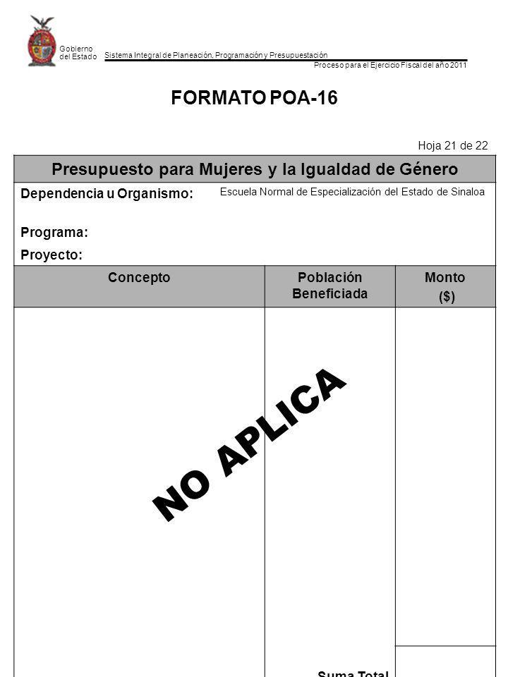 Sistema Integral de Planeación, Programación y Presupuestación Proceso para el Ejercicio Fiscal del año 2011 Gobierno del Estado FORMATO POA-16 Hoja 21 de 22 Presupuesto para Mujeres y la Igualdad de Género Dependencia u Organismo: Escuela Normal de Especialización del Estado de Sinaloa Programa: Proyecto: ConceptoPoblación Beneficiada Monto ($) Suma Total NO APLICA