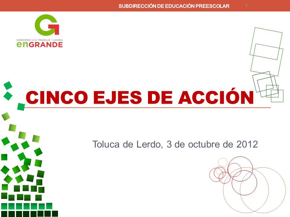 CINCO EJES DE ACCIÓN Toluca de Lerdo, 3 de octubre de 2012 1
