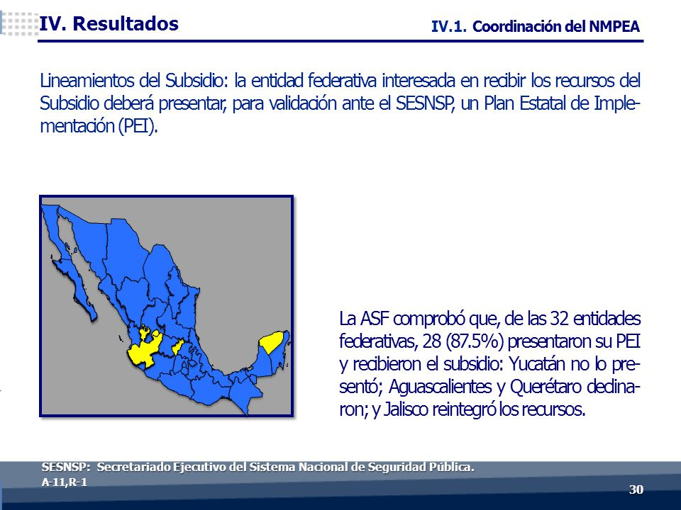 30 A-11, R- 1 La ASF comprobó que, de las 32 entidades federativas, 28 (87.5%) presentaron su PEI y recibieron el subsidio: Yucatán no lo pre- sentó; Aguascalientes y Querétaro declina- ron; y Jalisco reintegró los recursos.