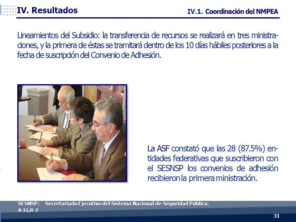 31 A-11, R- 2 La ASF constató que las 28 (87.5%) en- tidades federativas que suscribieron con el SESNSP los convenios de adhesión recibieron la primera ministración.