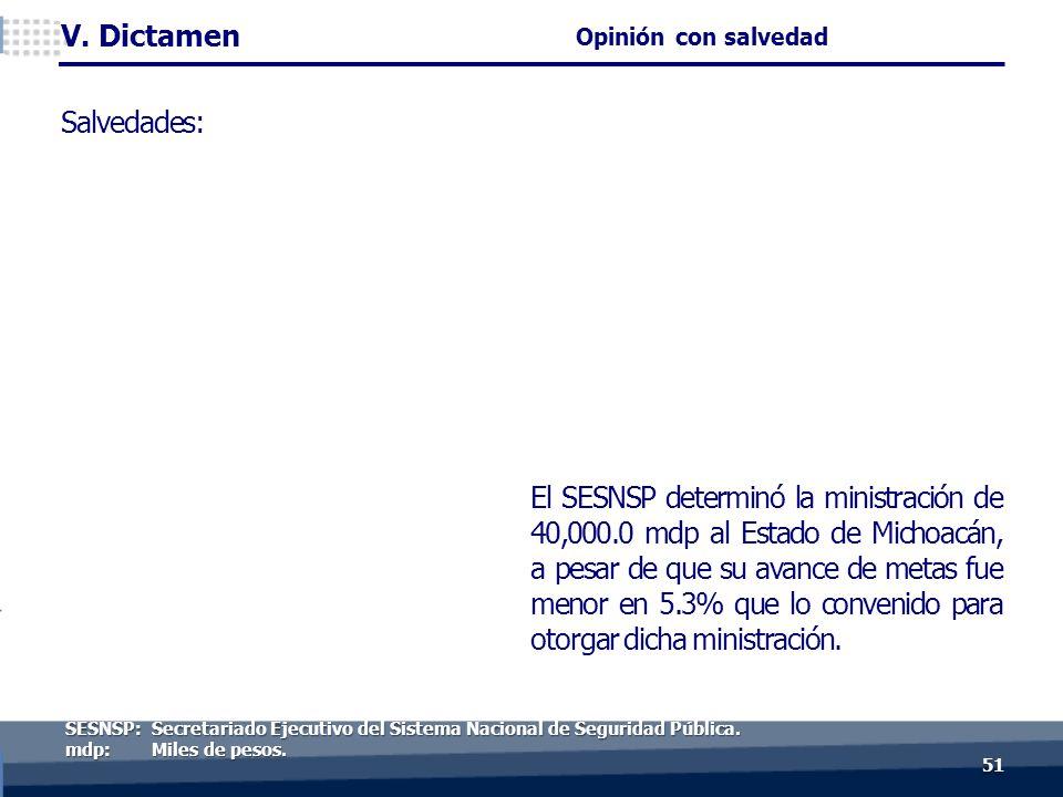 El SESNSP determinó la ministración de 40,000.0 mdp al Estado de Michoacán, a pesar de que su avance de metas fue menor en 5.3% que lo convenido para otorgar dicha ministración.