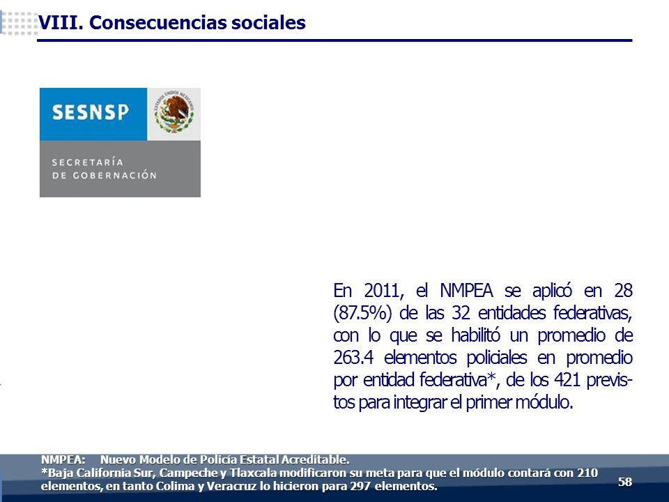 En 2011, el NMPEA se aplicó en 28 (87.5%) de las 32 entidades federativas, con lo que se habilitó un promedio de 263.4 elementos policiales en promedio por entidad federativa*, de los 421 previs- tos para integrar el primer módulo.