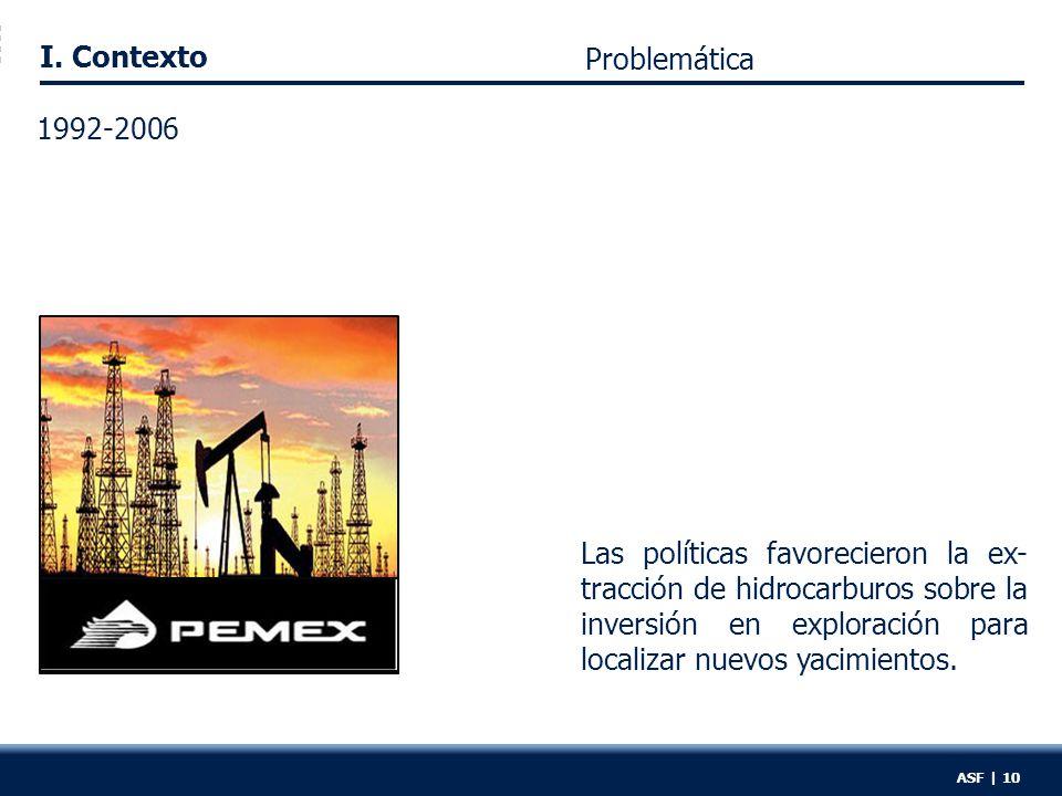 I. Contexto ASF | 10 Las políticas favorecieron la ex- tracción de hidrocarburos sobre la inversión en exploración para localizar nuevos yacimientos.