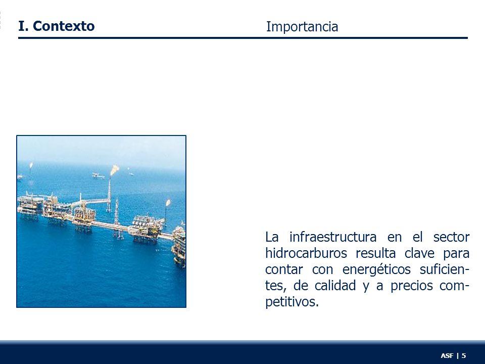 I. Contexto La infraestructura en el sector hidrocarburos resulta clave para contar con energéticos suficien- tes, de calidad y a precios com- petitiv