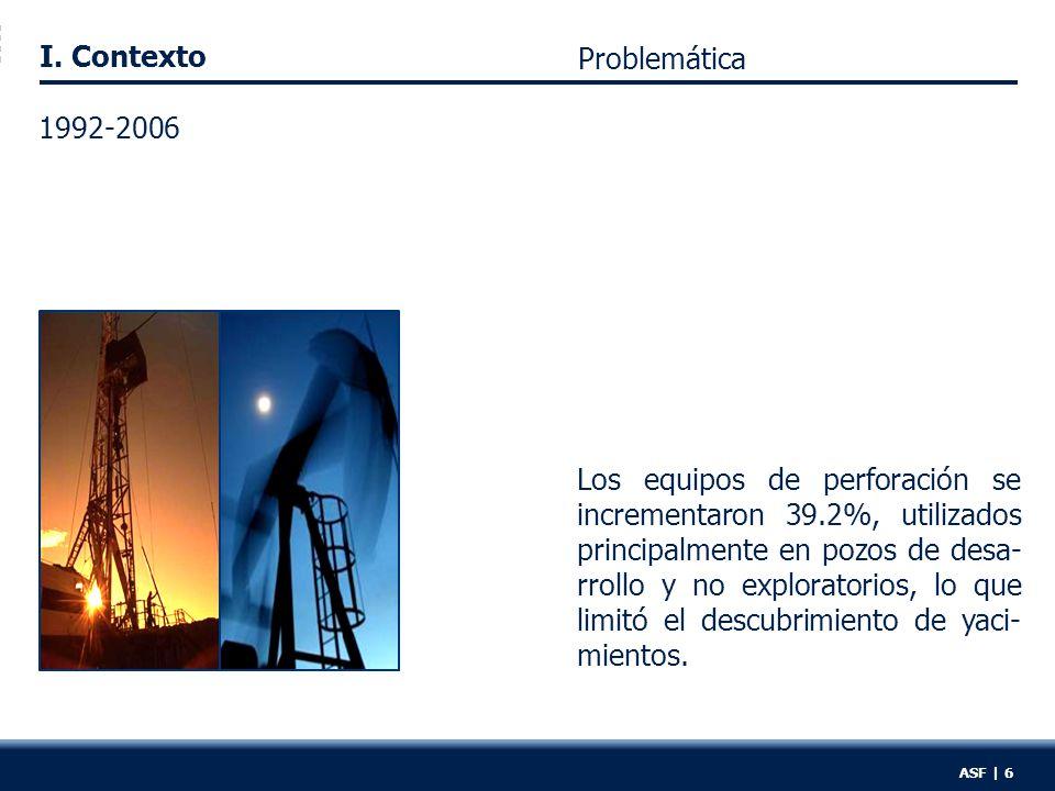 I. Contexto Los equipos de perforación se incrementaron 39.2%, utilizados principalmente en pozos de desa- rrollo y no exploratorios, lo que limitó el
