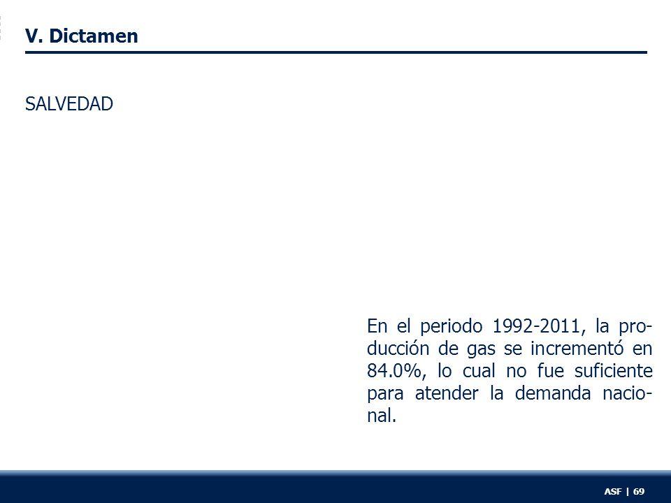 V. Dictamen En el periodo 1992-2011, la pro- ducción de gas se incrementó en 84.0%, lo cual no fue suficiente para atender la demanda nacio- nal. SALV