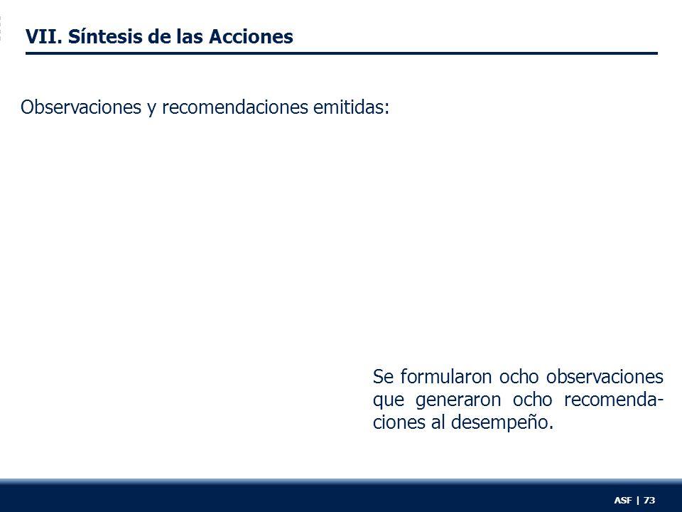 VII. Síntesis de las Acciones Se formularon ocho observaciones que generaron ocho recomenda- ciones al desempeño. Observaciones y recomendaciones emit