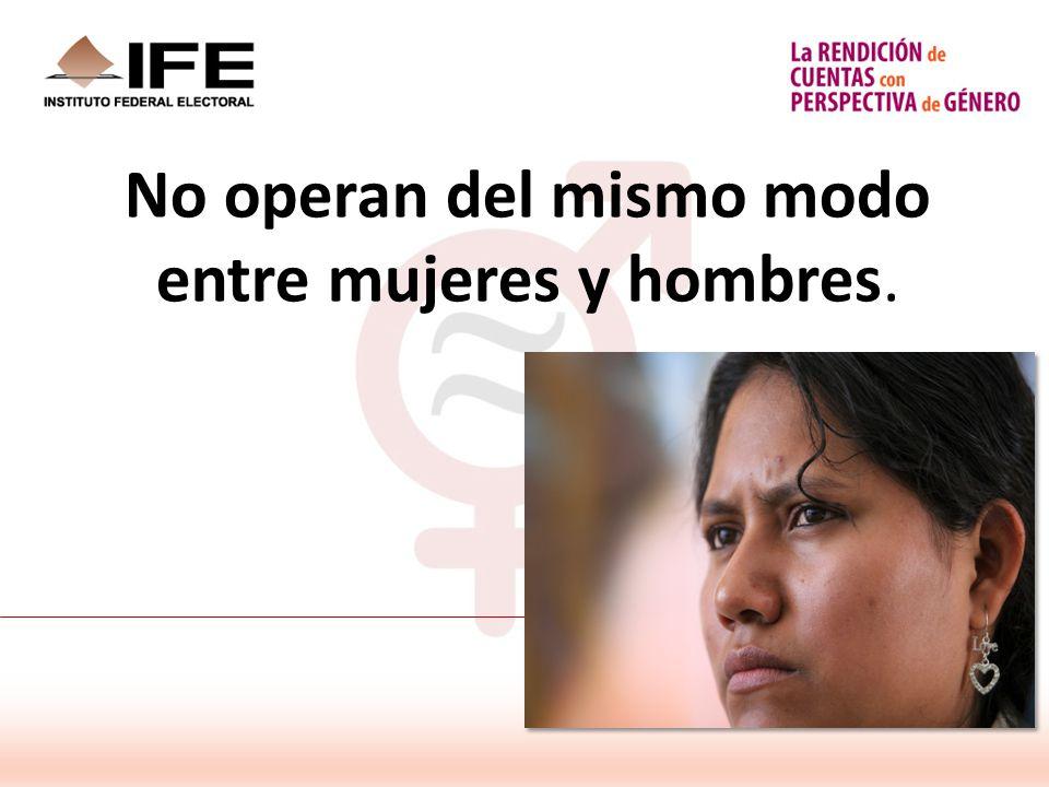 No operan del mismo modo entre mujeres y hombres.