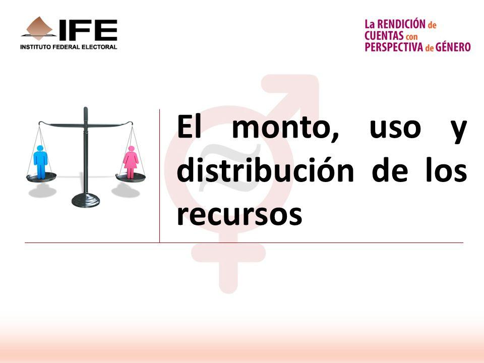 El monto, uso y distribución de los recursos