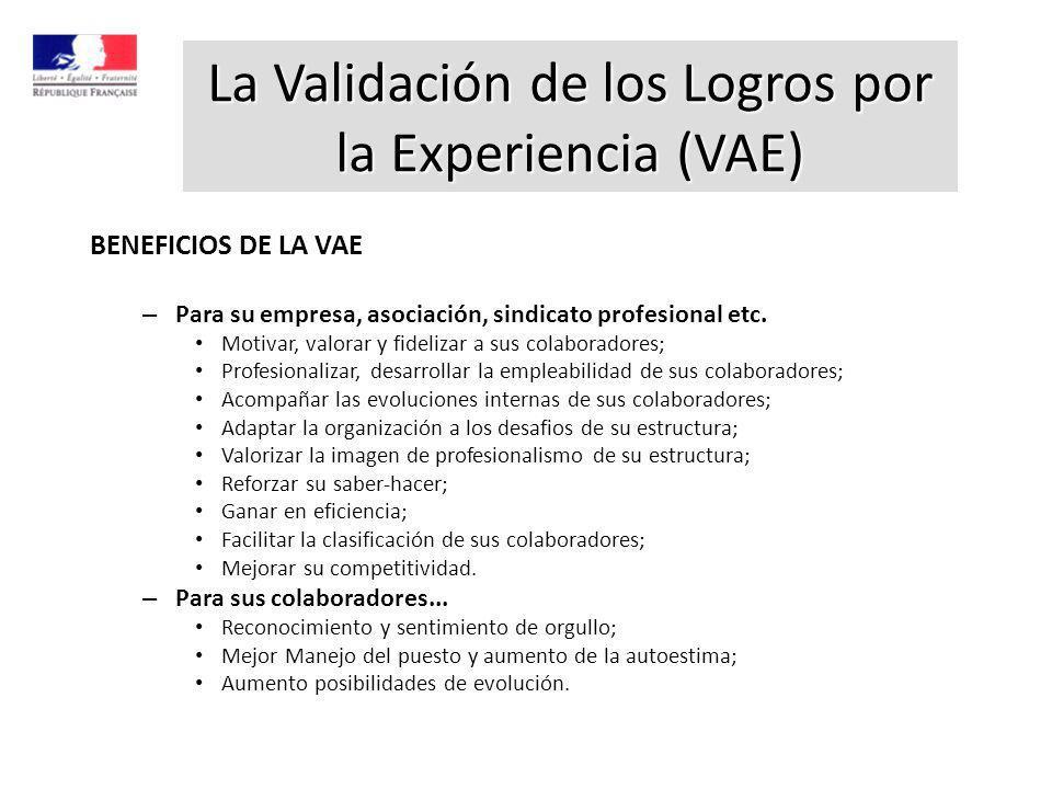 BENEFICIOS DE LA VAE – Para su empresa, asociación, sindicato profesional etc. Motivar, valorar y fidelizar a sus colaboradores; Profesionalizar, desa