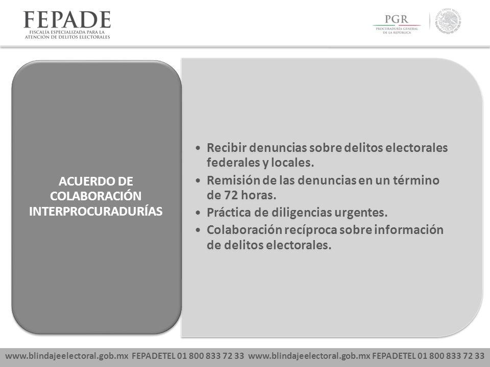 www.blindajeelectoral.gob.mx FEPADETEL 01 800 833 72 33 Recibir denuncias sobre delitos electorales federales y locales. Remisión de las denuncias en