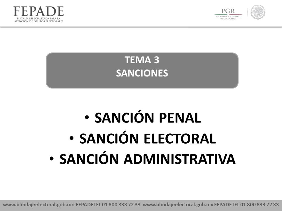 www.blindajeelectoral.gob.mx FEPADETEL 01 800 833 72 33 SANCIÓN PENAL SANCIÓN ELECTORAL SANCIÓN ADMINISTRATIVA TEMA 3 SANCIONES
