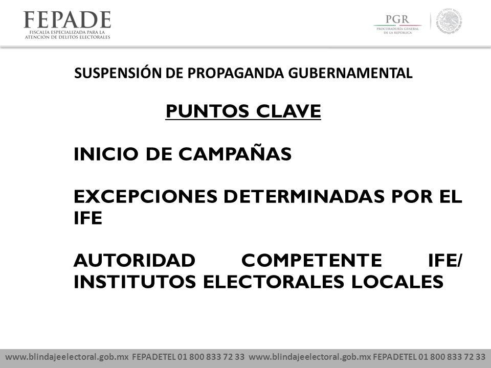 www.blindajeelectoral.gob.mx FEPADETEL 01 800 833 72 33 SUSPENSIÓN DE PROPAGANDA GUBERNAMENTAL PUNTOS CLAVE INICIO DE CAMPAÑAS EXCEPCIONES DETERMINADA
