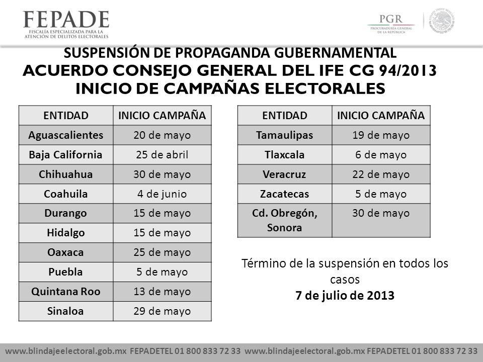 www.blindajeelectoral.gob.mx FEPADETEL 01 800 833 72 33 SUSPENSIÓN DE PROPAGANDA GUBERNAMENTAL ACUERDO CONSEJO GENERAL DEL IFE CG 94/2013 INICIO DE CA