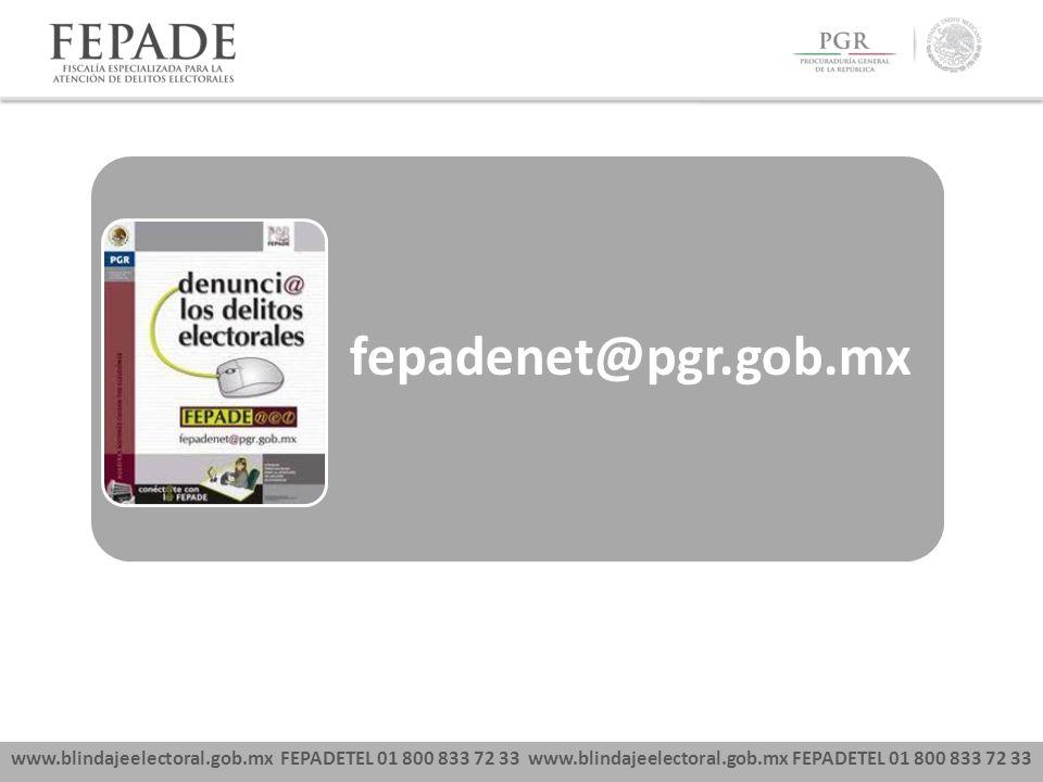 www.blindajeelectoral.gob.mx FEPADETEL 01 800 833 72 33 fepadenet@pgr.gob.mx