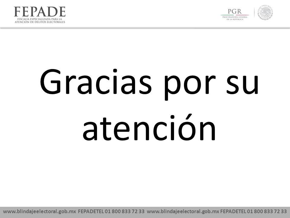 www.blindajeelectoral.gob.mx FEPADETEL 01 800 833 72 33 Gracias por su atención