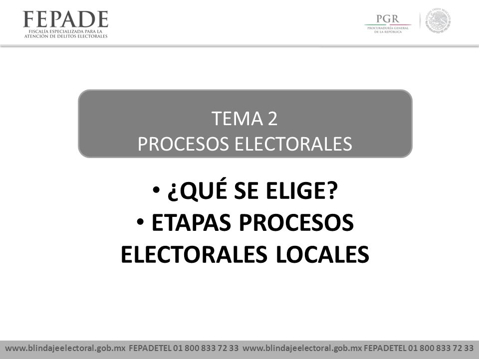 www.blindajeelectoral.gob.mx FEPADETEL 01 800 833 72 33 TEMA 2 PROCESOS ELECTORALES ¿QUÉ SE ELIGE? ETAPAS PROCESOS ELECTORALES LOCALES