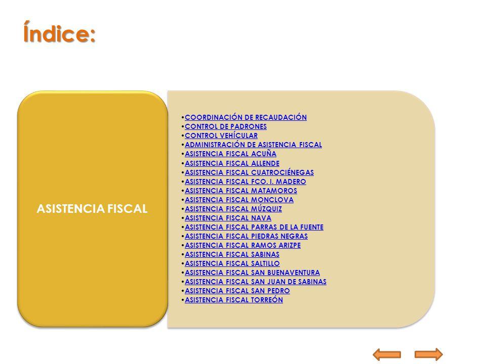 COORDINACIÓN DE RECAUDACIÓN CONTROL DE PADRONES CONTROL VEHÍCULAR ADMINISTRACIÓN DE ASISTENCIA FISCAL ASISTENCIA FISCAL ACUÑA ASISTENCIA FISCAL ALLEND