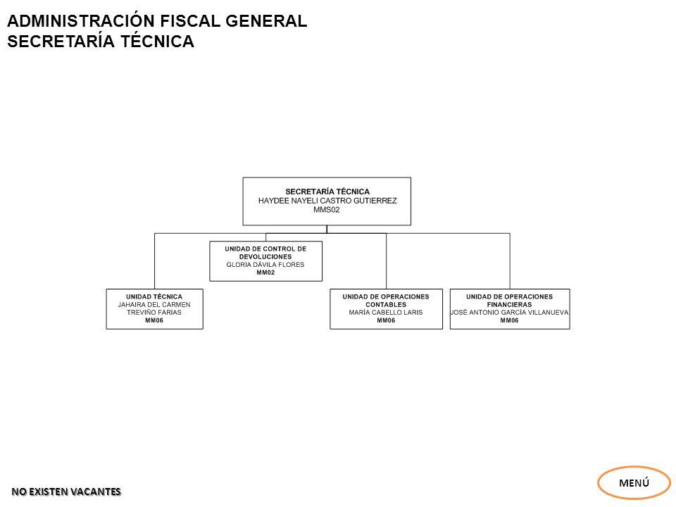 ADMINISTRACIÓN FISCAL GENERAL SECRETARÍA TÉCNICA MENÚ NO EXISTEN VACANTES