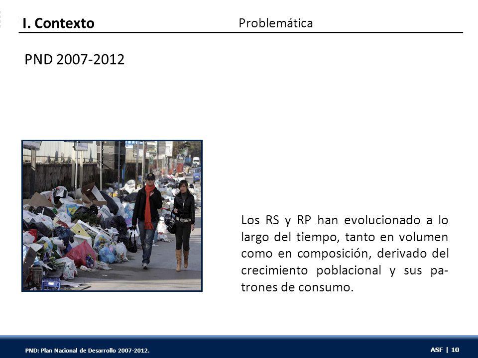ASF | 10 PND 2007-2012 Los RS y RP han evolucionado a lo largo del tiempo, tanto en volumen como en composición, derivado del crecimiento poblacional