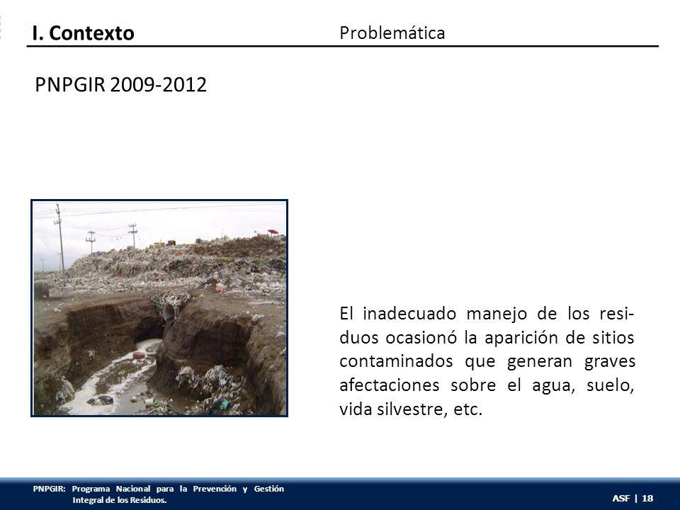 ASF | 18 El inadecuado manejo de los resi- duos ocasionó la aparición de sitios contaminados que generan graves afectaciones sobre el agua, suelo, vid