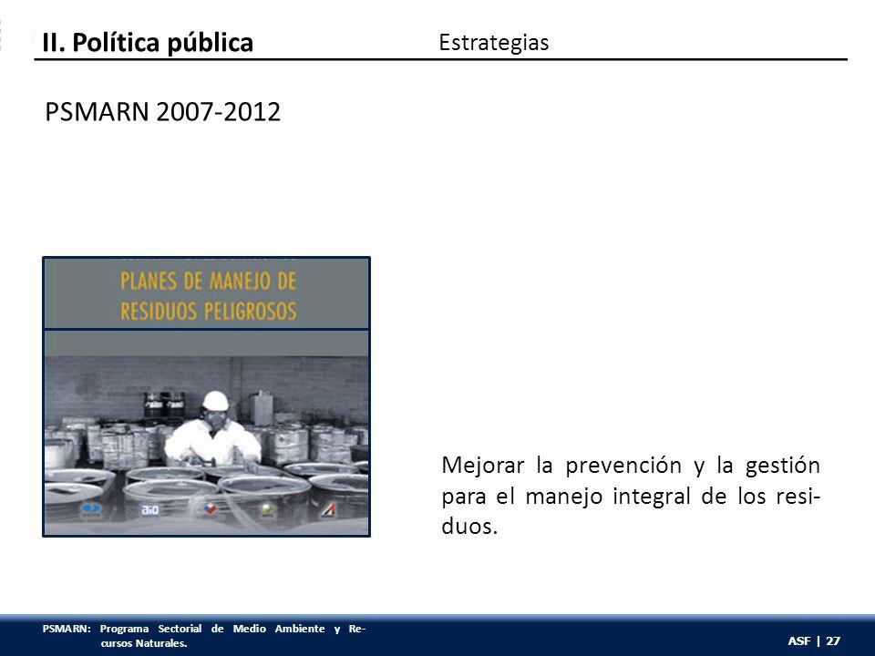 ASF | 27 PSMARN 2007-2012 Mejorar la prevención y la gestión para el manejo integral de los resi- duos. Estrategias II. Política pública ASF | 27 PSMA