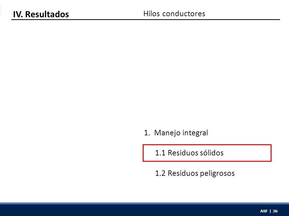 ASF | 36 Hilos conductores IV. Resultados 1. Manejo integral 1.1 Residuos sólidos 1.2 Residuos peligrosos ASF | 36