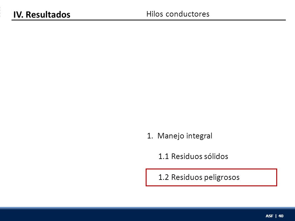 ASF | 40 Hilos conductores IV. Resultados 1. Manejo integral 1.1 Residuos sólidos 1.2 Residuos peligrosos ASF | 40