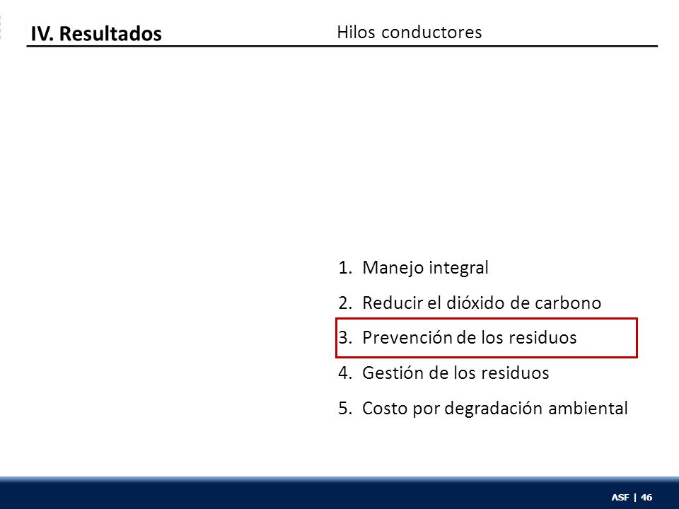 ASF | 46 1. Manejo integral 2. Reducir el dióxido de carbono 3. Prevención de los residuos 4. Gestión de los residuos 5. Costo por degradación ambient