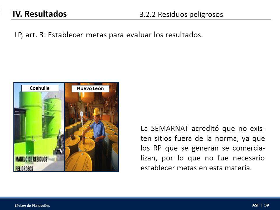 ASF | 59 La SEMARNAT acreditó que no exis- ten sitios fuera de la norma, ya que los RP que se generan se comercia- lizan, por lo que no fue necesario establecer metas en esta materia.