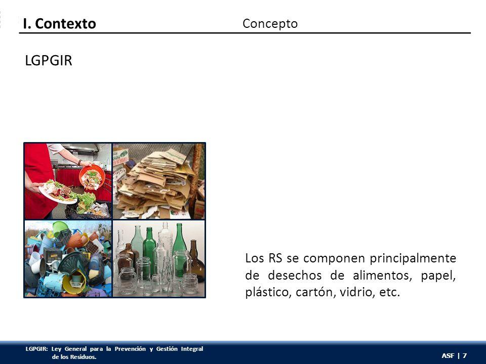 ASF | 7 LGPGIR Los RS se componen principalmente de desechos de alimentos, papel, plástico, cartón, vidrio, etc. Concepto I. Contexto ASF | 7 LGPGIR: