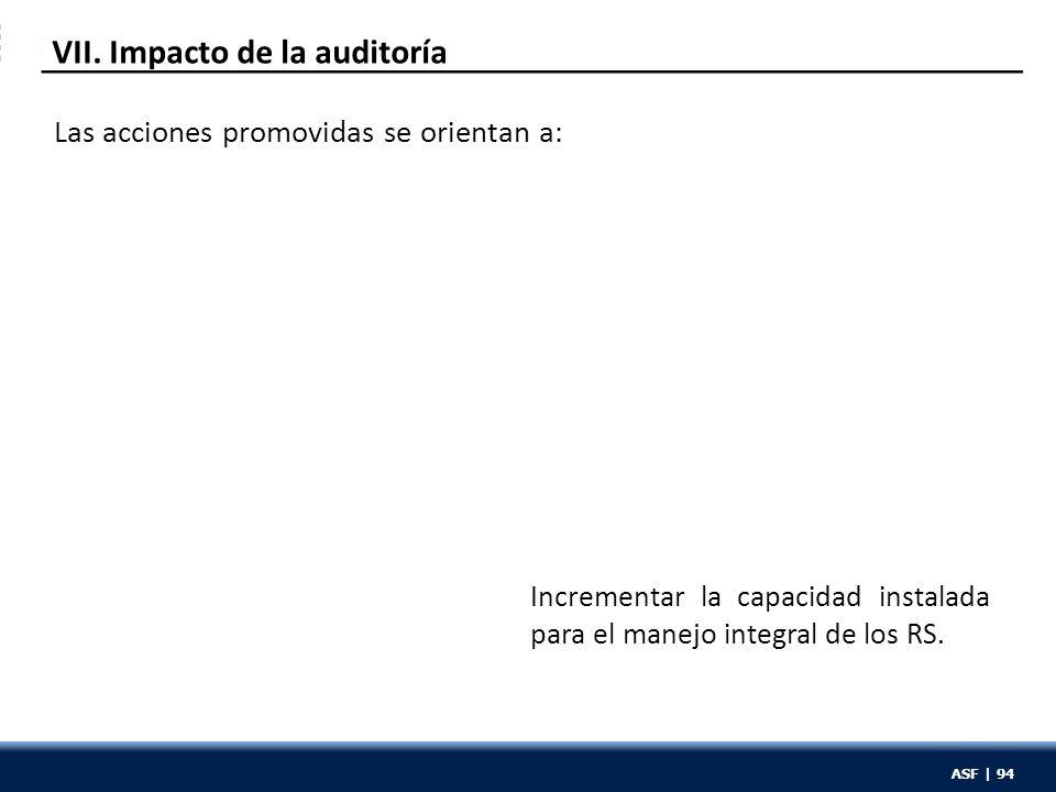 ASF | 94 VII. Impacto de la auditoría Incrementar la capacidad instalada para el manejo integral de los RS. Las acciones promovidas se orientan a: ASF