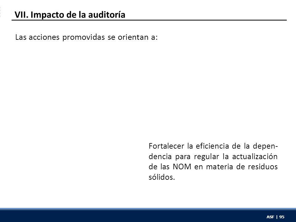 ASF | 95 VII. Impacto de la auditoría Fortalecer la eficiencia de la depen- dencia para regular la actualización de las NOM en materia de residuos sól